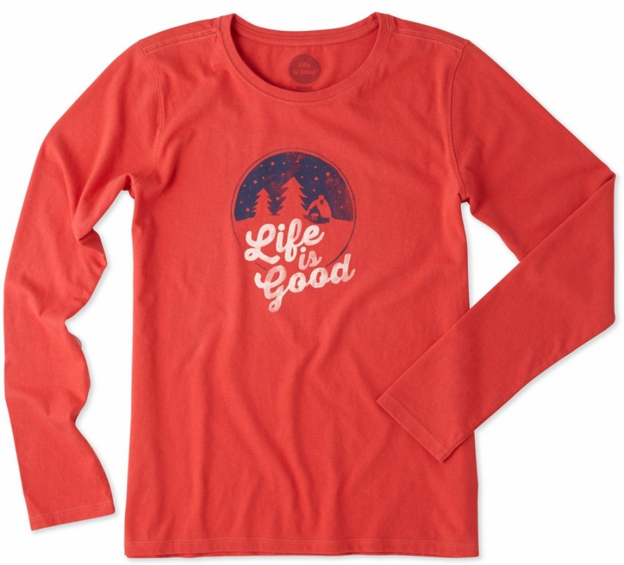 Life is Good Women's Crusher Long Sleeve Snow Cabin Tee