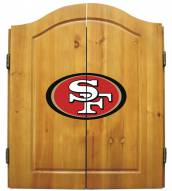 San Francisco 49ers NFL Complete Dart Board Cabinet Set (w/darts & flights)