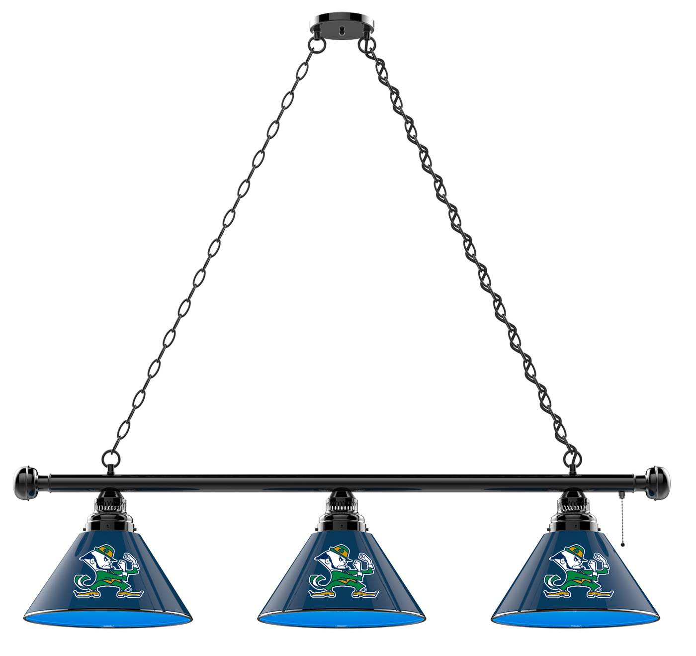 Great Brighten Up Your Game Room With The Notre Dame Fighting Irish Leprechaun 3  Shade Pool Table Light And Show Off Your Team Pride!