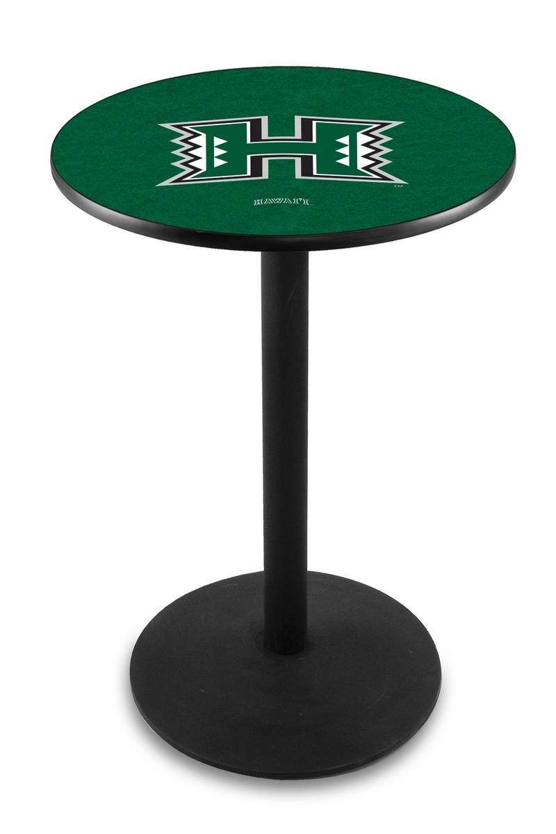 Hawaii Warriors Black Wrinkle Bar Table With Round Base