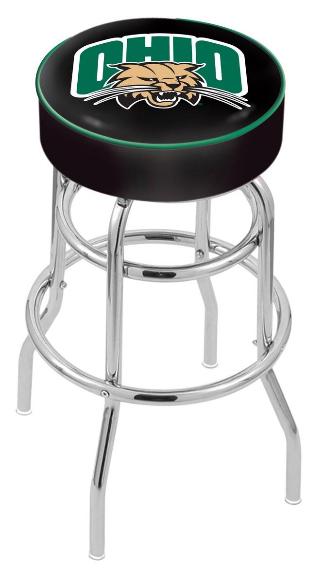 Ohio Bobcats Double Ring Chrome Base Swivel Bar Stool