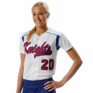 A4 Full Button Short Sleeve Knit Women's Softball Jersey