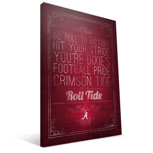 "Alabama Crimson Tide 16"" x 24"" Song Canvas Print"