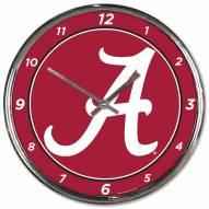 Alabama Crimson Tide Round Chrome Wall Clock