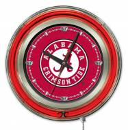 Alabama Crimson Tide Script Logo Neon Clock