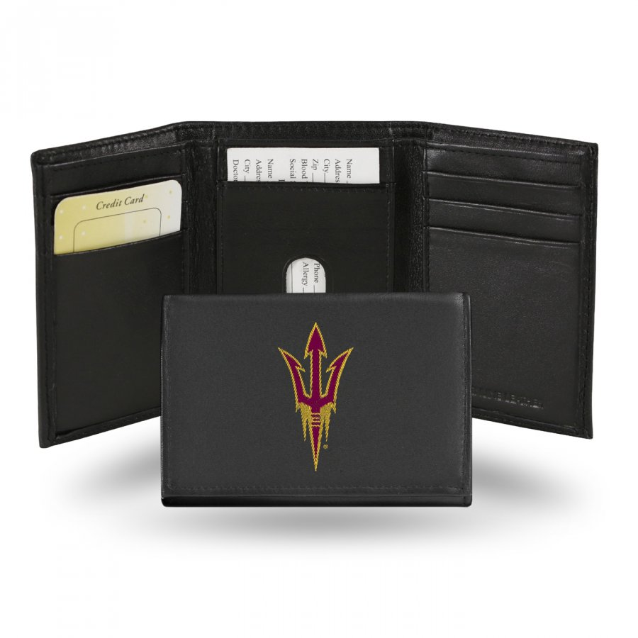 Arizona State Sun Devils College Embroidered Leather Tri-Fold Wallet
