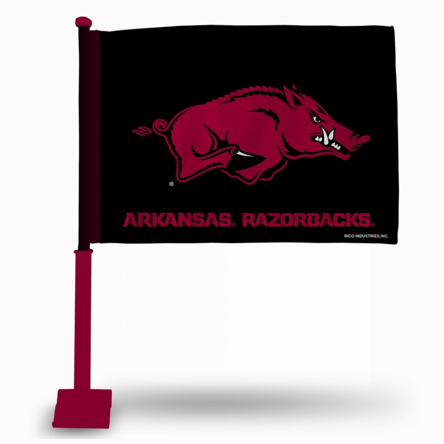 Arkansas Razorbacks Car Flag with Crimson Pole