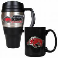 Arkansas Razorbacks Travel Mug & Coffee Mug Set