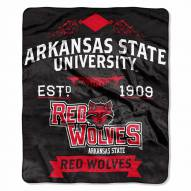 Arkansas State Red Wolves Label Raschel Throw Blanket