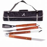 Atlanta Braves Black 3 Piece BBQ Set