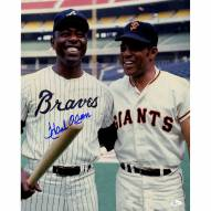 """Atlanta Braves Hank Aaron Pose With Willie Mays Signed 16"""" x 20"""" Photo"""