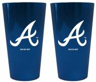 Atlanta Braves Lusterware Pint Glass - Set of 2