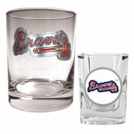 Atlanta Braves MLB 14 Oz Rocks Glass & Square Shot Glass 2-Piece Set