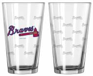 Atlanta Braves Satin Etch Pint Glass - Set of 2