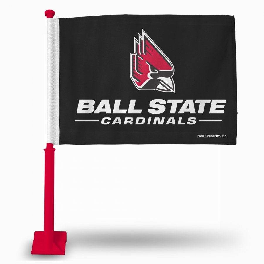 Ball State Cardinals Car Flag with Red Pole