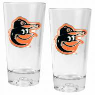 Baltimore Orioles Baseball Sculpted Bottom Pint Glass Set