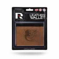 Baltimore Orioles Brown Leather Trifold Wallet