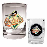 Baltimore Orioles MLB 14 Oz Rocks Glass & Square Shot Glass 2-Piece Set