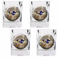 Baltimore Ravens Open Field 4-Piece RealTree Square Shot Glass Set