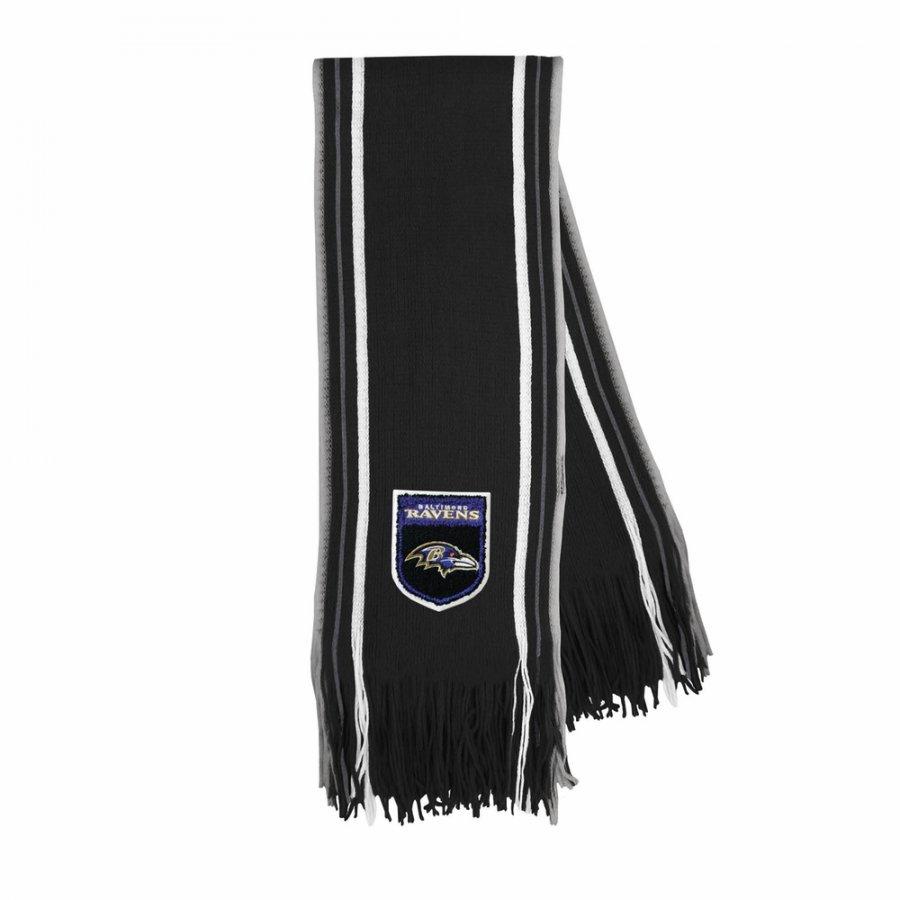 Baltimore Ravens Crest Stripe Fringe Scarf