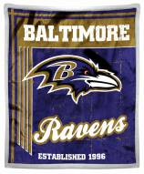 Baltimore Ravens Old School Mink Sherpa Throw Blanket