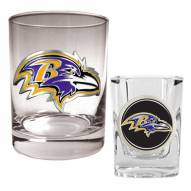 Baltimore Ravens Rocks Glass & Shot Glass Set