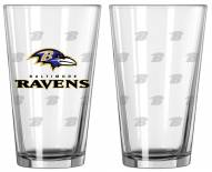 Baltimore Ravens Satin Etch Pint Glass - Set of 2