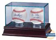 Double Baseball Glass Display Case w/ Cherywood Base