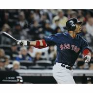 """Boston Red Sox Carl Crawford Blue Jersey Hit Signed 16"""" x 20"""" Photo"""