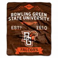 Bowling Green State Falcons Label Raschel Throw Blanket