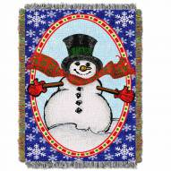 Bright Happy Snowman Throw Blanket