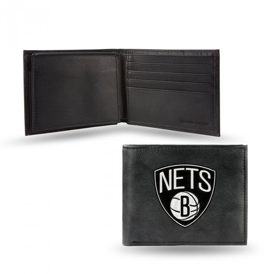 Brooklyn Nets Embroidered Leather Billfold Wallet
