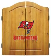 Tampa Bay Buccaneers NFL Complete Dart Board Cabinet Set (w/darts & flights)