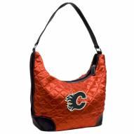 Calgary Flames Quilted Hobo Handbag