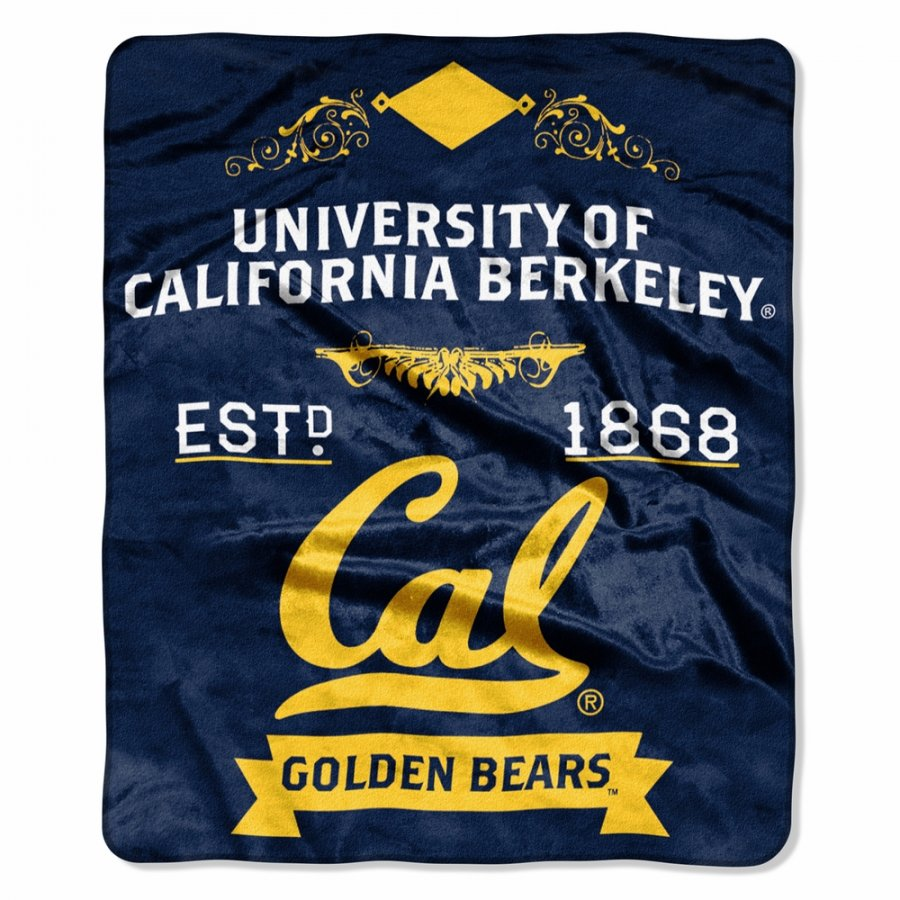 California Golden Bears Label Raschel Throw Blanket