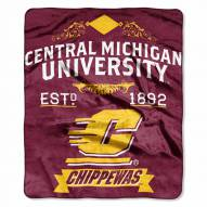 Central Michigan Chippewas NCAA Label Raschel Throw Blanket