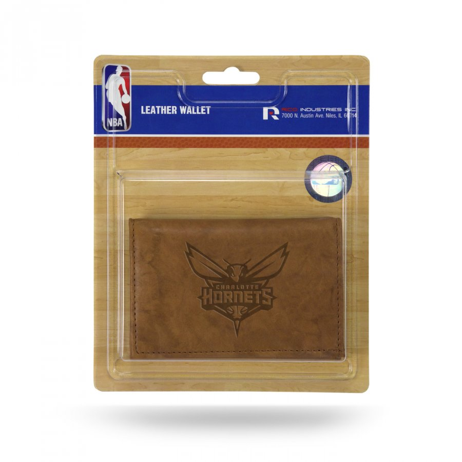 Charlotte Hornets Brown Leather Trifold Wallet