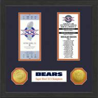 Chicago Bears Super Bowl Ticket Collection Framed