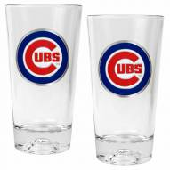 Chicago Cubs Baseball Sculpted Bottom Pint Glass Set