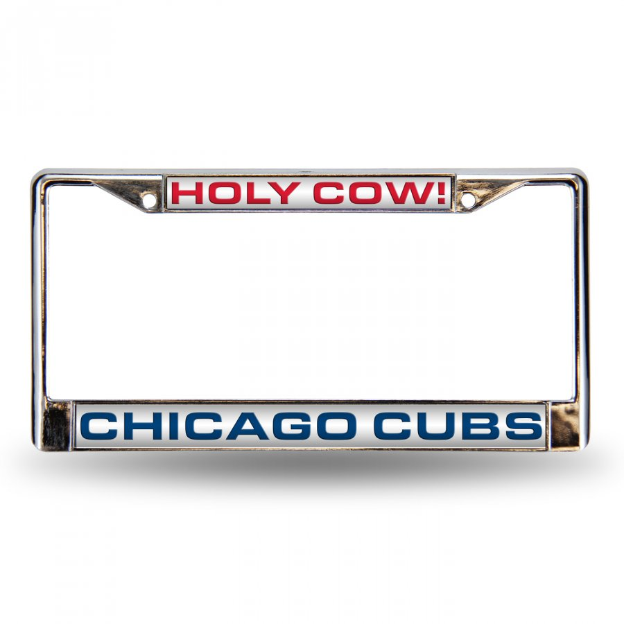 Chicago Cubs Holy Cow Laser Chrome License Plate Frame