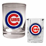 Chicago Cubs MLB 14 Oz Rocks Glass & Square Shot Glass 2-Piece Set