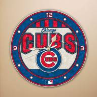 Chicago Cubs MLB Stained Glass Wall Clock