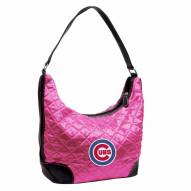 Chicago Cubs Pink MLB Quilted Hobo Handbag