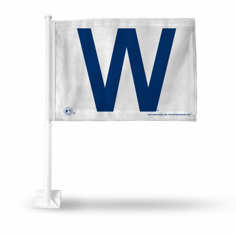 Chicago Cubs White Car Flag