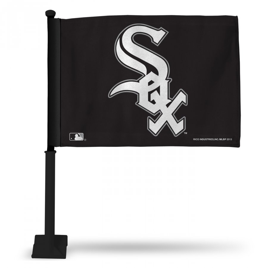 Chicago White Sox Car Flag with Black Pole