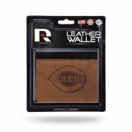 Cincinnati Reds Brown Leather Trifold Wallet
