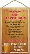 Cincinnati Reds Fan Cave Rules Wood Sign