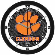 Clemson Tigers Carbon Fiber Wall Clock