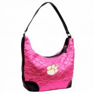 Clemson Tigers Pink NCAA Quilted Hobo Handbag