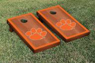 Clemson Tigers Rosewood Stained Border Cornhole Game Set